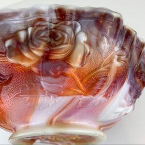 Vintage Marble Milk Glass Large Bowl